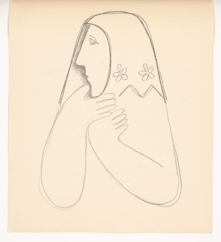 Mikuláš Galanda - Štúdia ženy v kvetovanej šatke s podopretou bradou