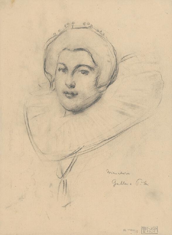 Milan Thomka Mitrovský - Štúdia ženskej hlavy podľa miniatúry v galérii PITTI