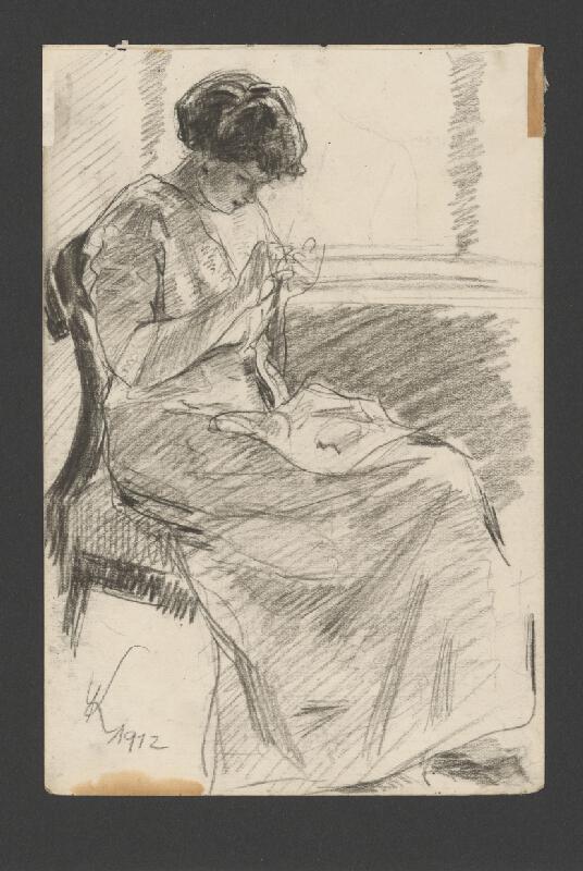 Viktor Krupec - Štúdia umelcovej manželky pri pletení