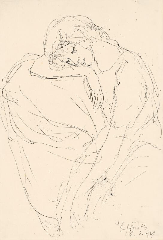 Vincent Hložník - Figurálna štúdia sediacej ženy s podopretou hlavou