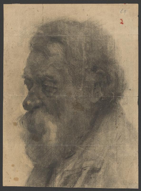 Eduard Putra - Štúdia hlavy muža s dlhými vlasmi