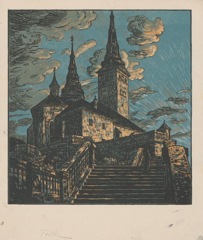 Karel Vik - Pohľad na kostol v Žiline
