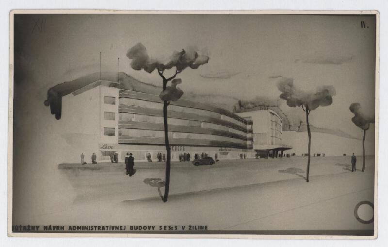 Ferdinand Čapka - Administratívna budova Slovenských elektrární v Žiline. Súťažný návrh. Perspektívny pohľad.