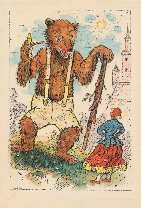 Ľudovít Fulla - Medveď a dievča
