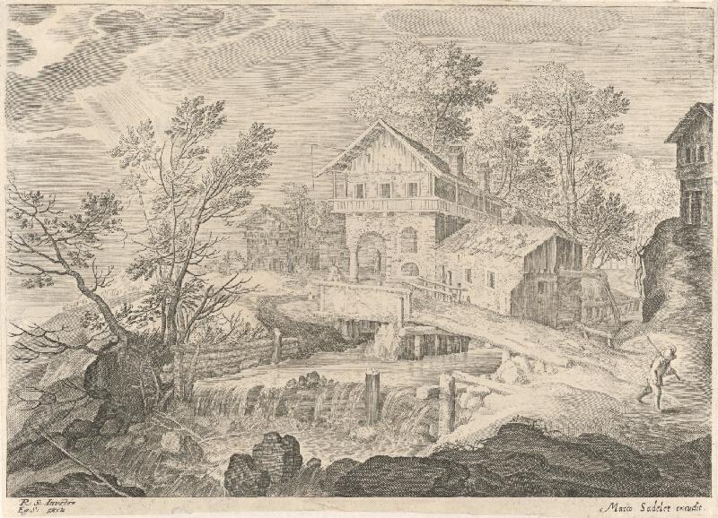 Marcus Sadeler, Aegidius Sadeler II., Roelandt Savery - Hostinec a domy pri moste