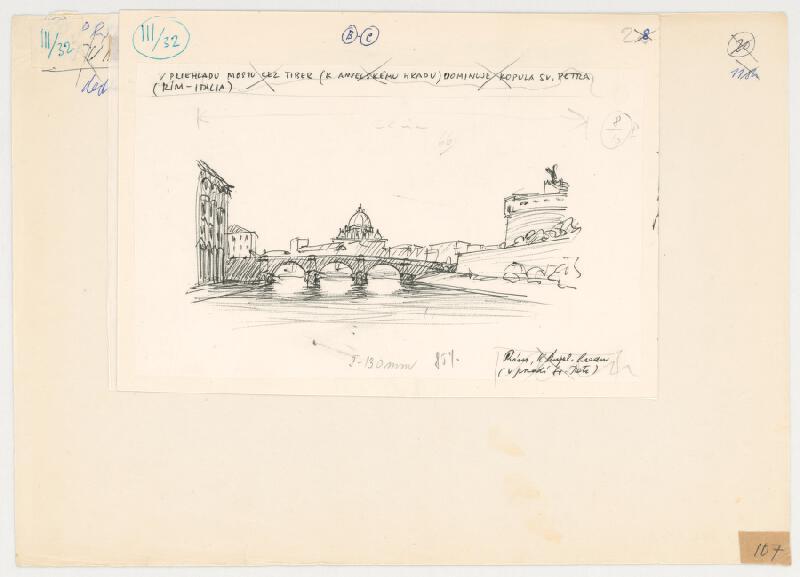 Emanuel Hruška – Rukopis knihy K tvorbe urbanistického prostredia. Rím - starý most cez Tiber k anjelskému hradu s priehľadom na kopulu Sv. Petra.