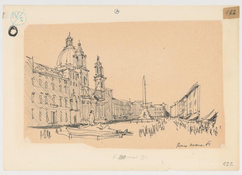 Emanuel Hruška – Rukopis knihy K tvorbe urbanistického prostredia. Piazza Navona - Rím - pôdorys antického štadióna.
