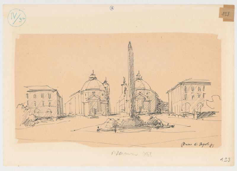 Emanuel Hruška – Rukopis knihy K tvorbe urbanistického prostredia. Piazza del Popolo - Rím - pohľad z priestoru.