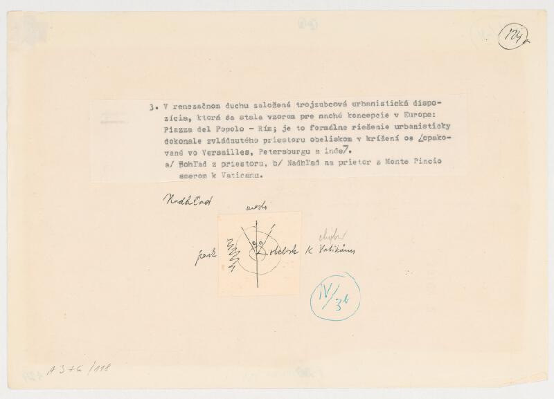 Emanuel Hruška – Rukopis knihy K tvorbe urbanistického prostredia. Piazza del Popolo - Rím - nadhľad na priestor z MOnte Pincio smerom k Vaticanu.