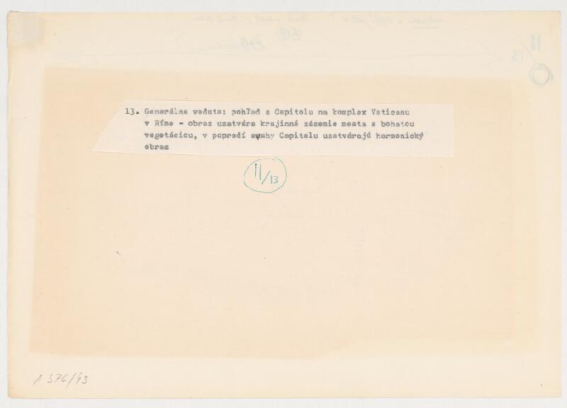 Emanuel Hruška – Rukopis knihy K tvorbe urbanistického prostredia. Pohľad z Capitolu na komplex Vatikánu v Ríme - generálna veduta.