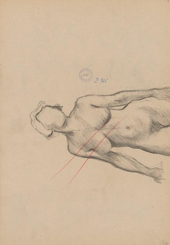 Ľudovít Fulla - Štúdia stojaceho ženského aktu - pohľad od chrbta - a detailov hlavy