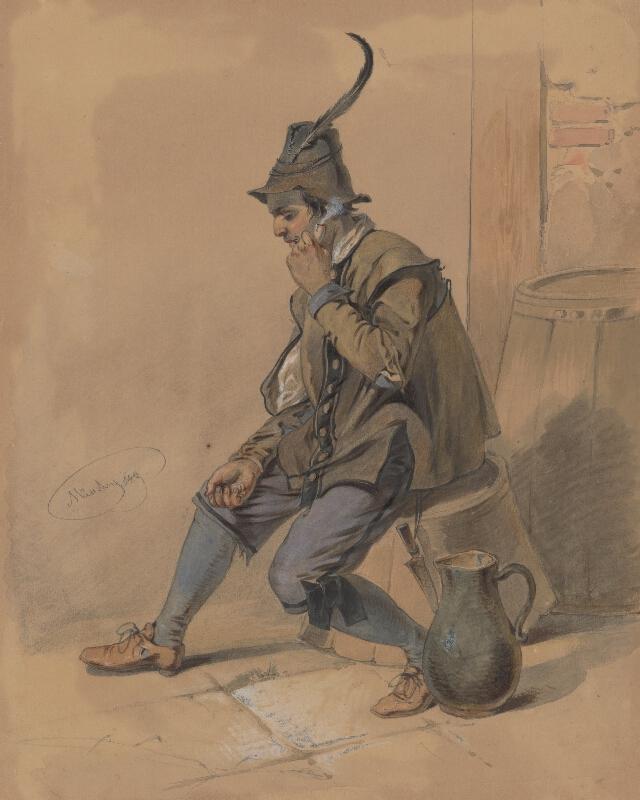 Friedrich Carl von Scheidlin - Štúdia fajčiaceho muža