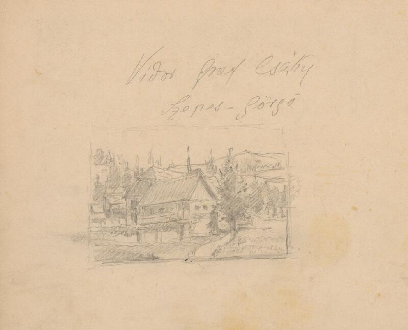Friedrich Carl von Scheidlin - Štúdia horskej krajiny s chalupami