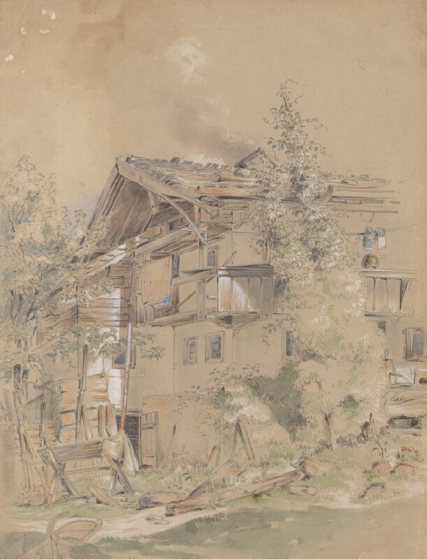 Friedrich Carl von Scheidlin - Malebné prostredie dedinskej chalupy