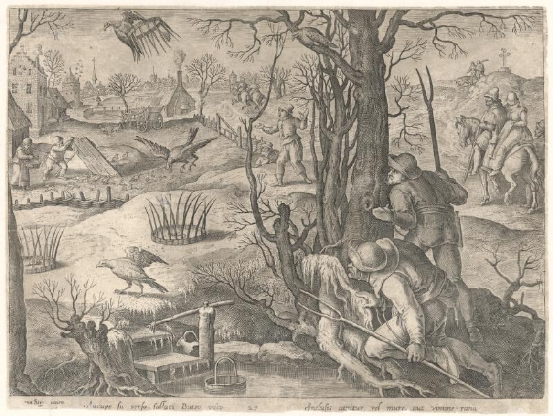 Jan van der Straet, Neznámy flámsky rytec, Philip Galle - Lov na kane s pascami v zime