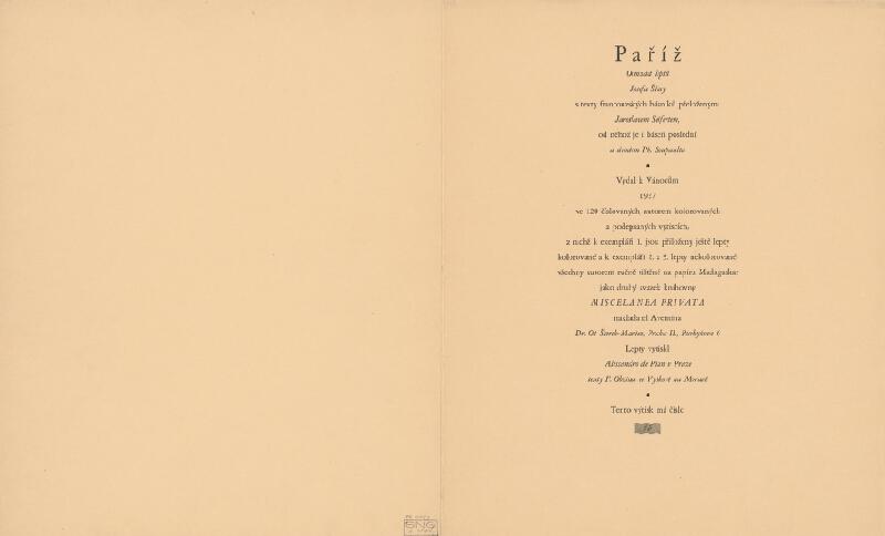 Josef Šíma – Paříž - tiráž