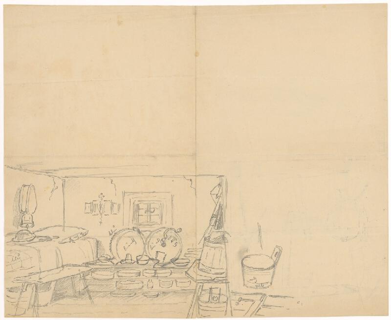 Friedrich Carl von Scheidlin - Štúdia dedinského interiéru so stáčacími súdkami a rôznymi nádobami v poličke
