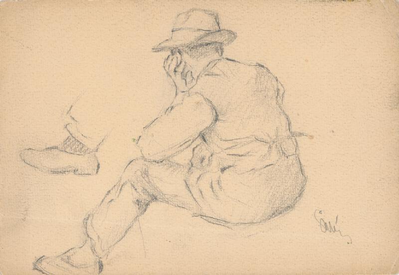 Gustáv Mallý - Štúdia sediaceho dedinčana s podopretou rukou