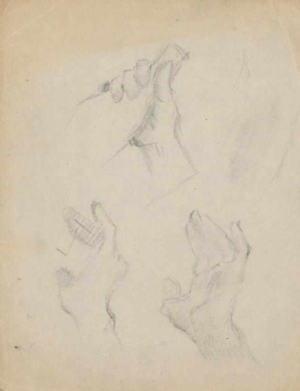 Gustáv Mallý - Štúdia rúk a ruky držiacej fľašu