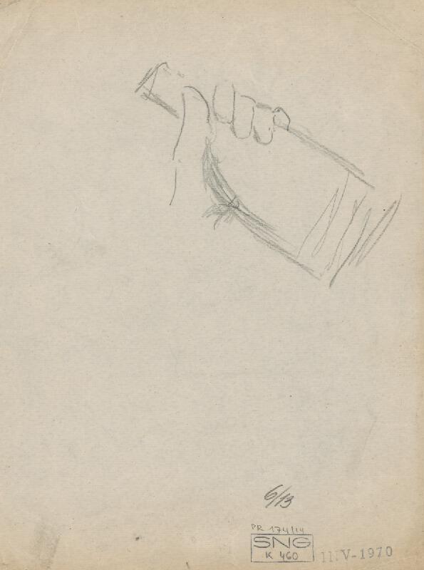 Gustáv Mallý – Štúdia rúk a ruky držiacej fľašu