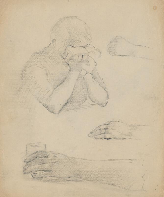 Gustáv Mallý – Náčrt plačúcej ženy a detailné štúdie rúk. Štúdia k obrazu Slovenská svadba