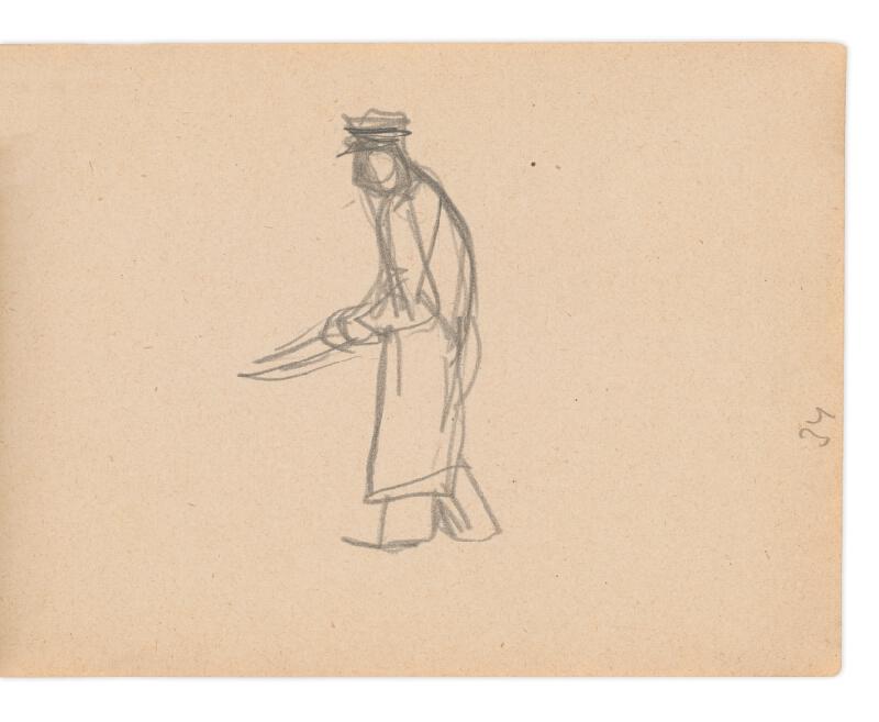 Eugen Nevan - Skicár II - 49 listov - Muž s kosou