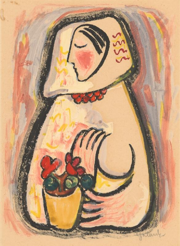 Mikuláš Galanda - Dievča s košíkom kvetov