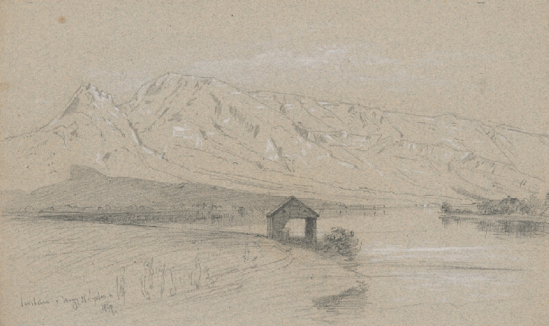 Jan Novopacký - Horská krajina s jazerom