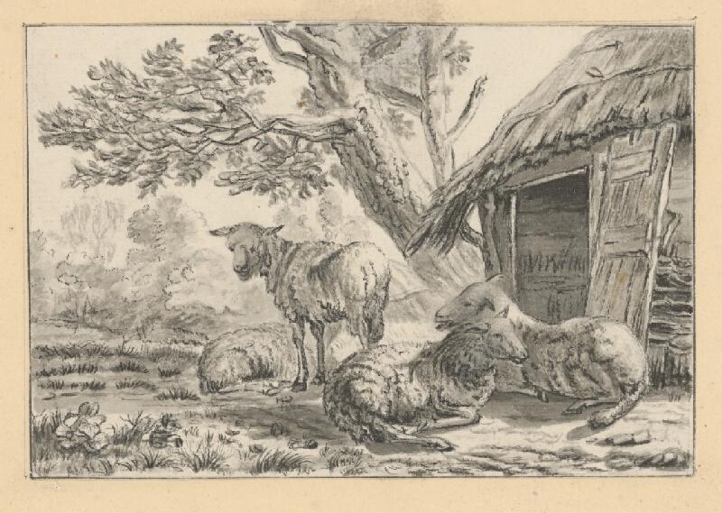 Stredoeurópsky autor okolo roku 1800 - Ovce pred chatrčou
