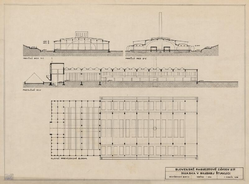 Emil Belluš - Magnezitové závody Dinas v Banskej Belej. Prevádzková budova, pôdorys, priečny a pozdĺžny rez. M 1:400.