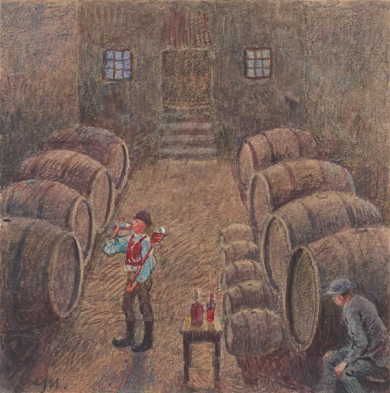 Gustáv Mallý - 2.- Koštovanie vína v pivnici