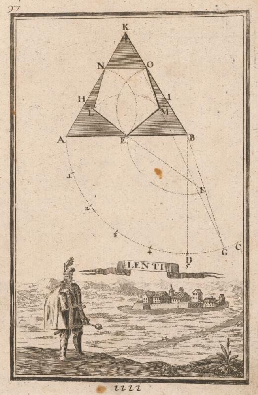Gabriel Bodenehr st., Justus van den Nypoort - Geometrická figúra a pohľad na pevnosť Lenti