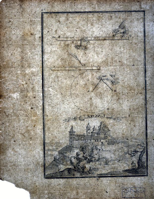 Gabriel Bodenehr st., Justus van den Nypoort - Geometrická figúra a pohľad na hrad Lansee (Landsee)