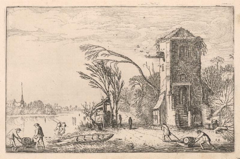 Jan van de Velde ml. - Zamrznutá rieka s korčuliarmi (12)