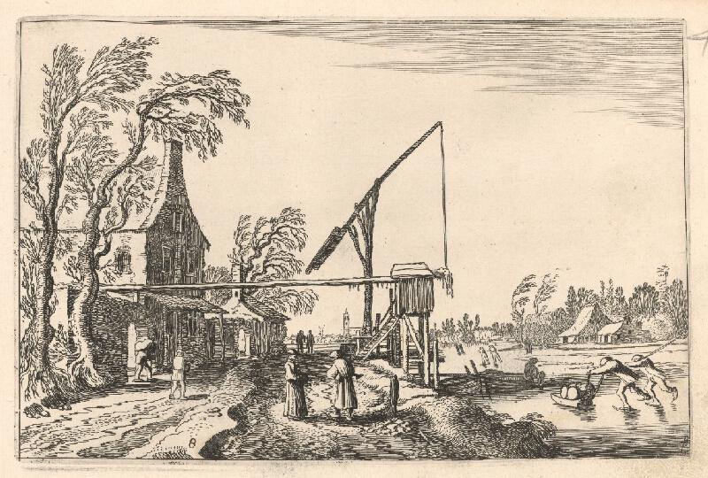Jan van de Velde ml. - Zamrznutá rieka s korčuliarmi a sedliaci na hradskej (8)