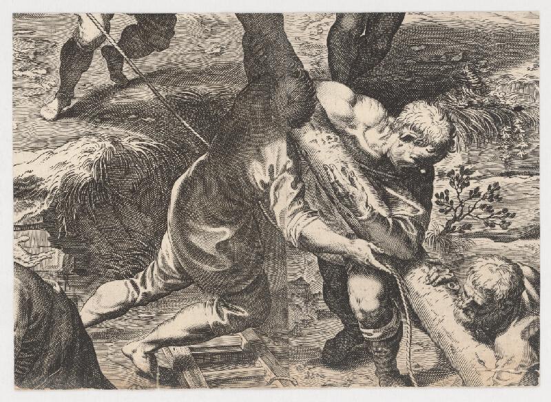 Marcus Sadeler, Jacopo  Tintoretto - Fragment s mužmi stavajúcimi kríž