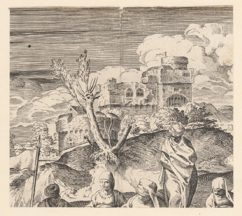 Marcus Sadeler, Jacopo  Tintoretto - Fragment s hradom v pozadí