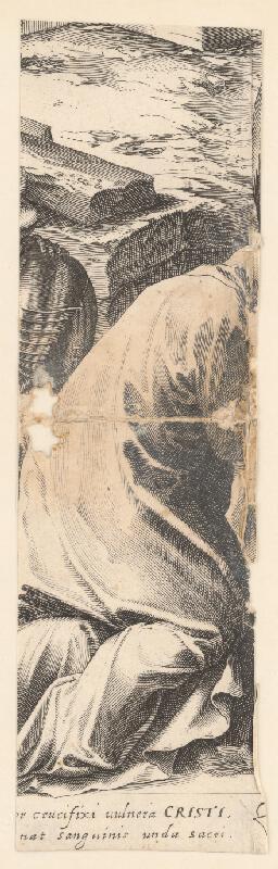 Marcus Sadeler, Jacopo  Tintoretto - Fragment kľačiacej postavy