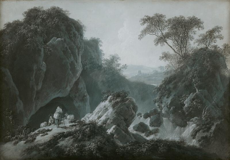 Jean Baptiste Pillement - Romantická krajina s pastiermi kôz