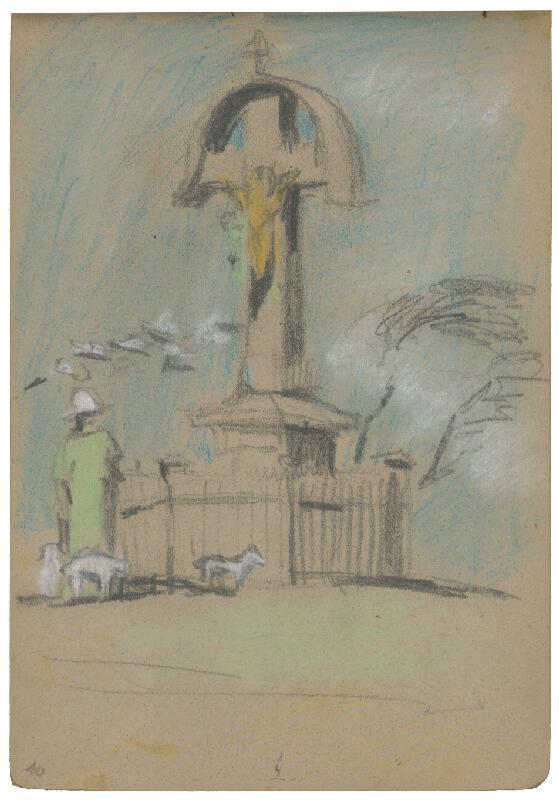 Margita Czóbelová – Náčrt kompozície figúry stojacej pred krížom