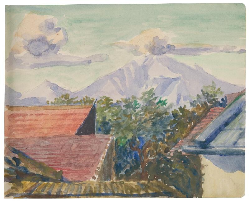 Margita Czóbelová - Náčrt výhľadu na vrch so strechami domov