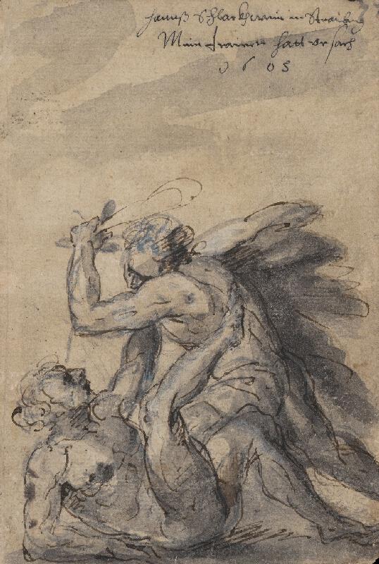 Nemecký maliar zo 17. storočia - Bitka dvoch obrov