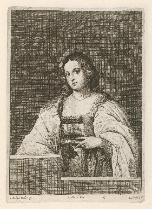 Jacopo, il vecchio Palma, Jan van Troyen, David Teniers ml. - Portrét dievčaťa s kvetom vo vlasoch