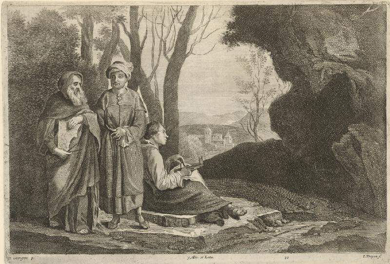 Giorgione, Jan van  Troyen, David  Teniers ml. - Traja filozofi
