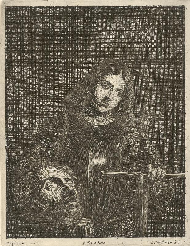 Giorgione, Lucas Vorsterman, David Teniers ml. - Dávid s hlavou Goliášovou