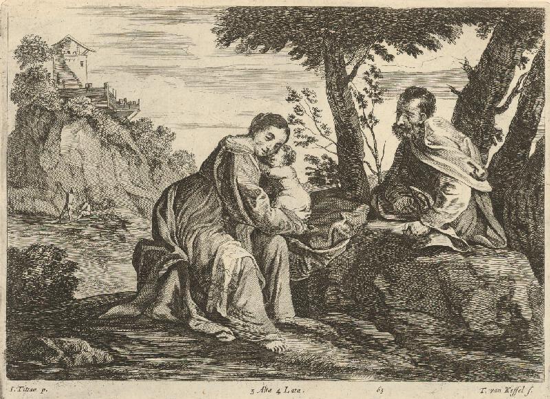 Titian, Théodorus van  Kessel, David  Teniers ml. - Svätá rodina v krajine