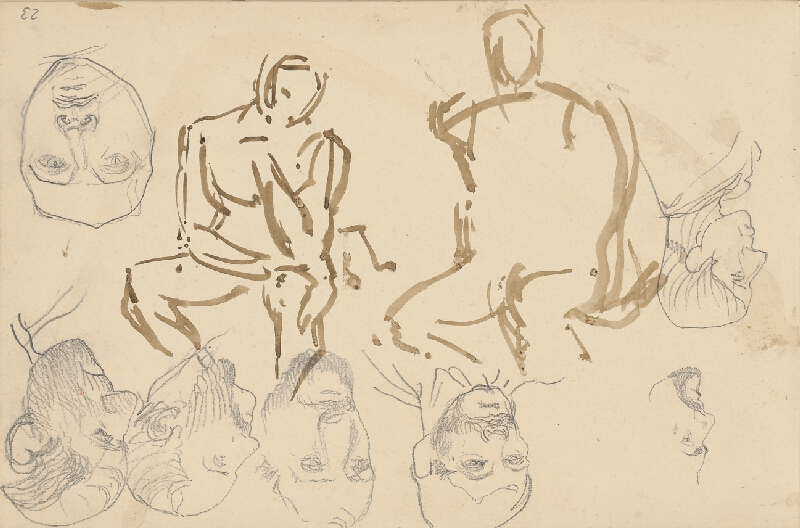 Ladislav Mednyánszky – Náčrt dvoch sediacich figúr a siedmich mužských tvárí