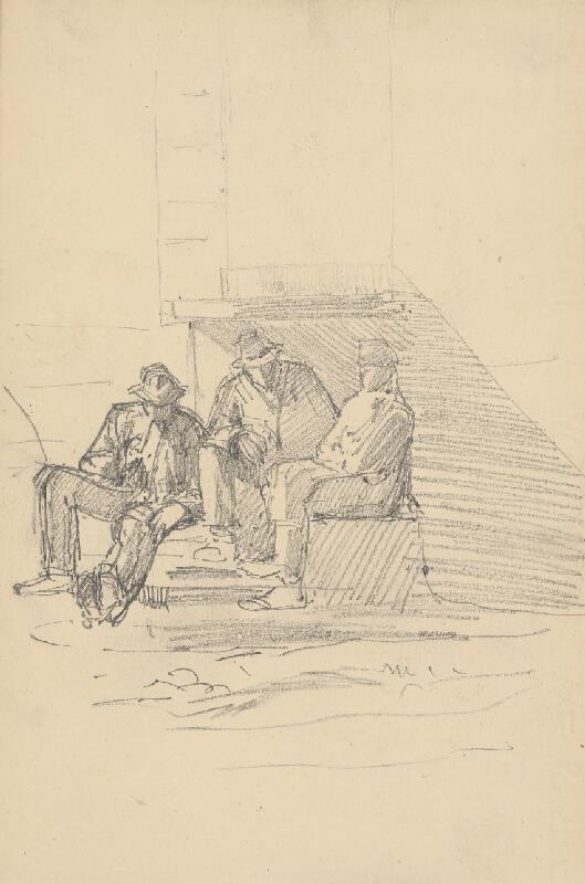 Ladislav Mednyánszky – Náčrt sediacej mužskej figúry a dva náčrty spiacej mužskej tváre