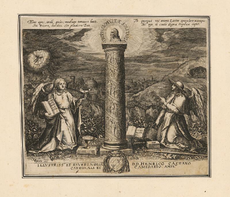 Maarten de Vos st., Neznámy grafik – Náboženská alegorická scéna, titulný list albumu o svätých pustovníkoch