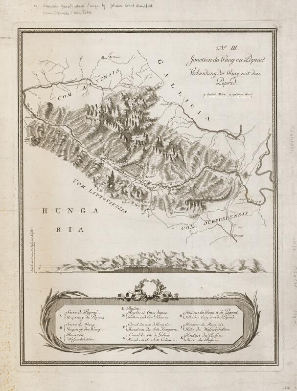 Neznámy grafik – Čiastkový pohľad na Tatry a plán projektu prepojenia Váhu a Popradu